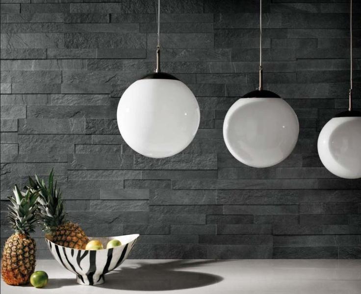 Stockholm piastrelle effetto pietra svart realizzazione - Rivestimento cucina effetto pietra ...