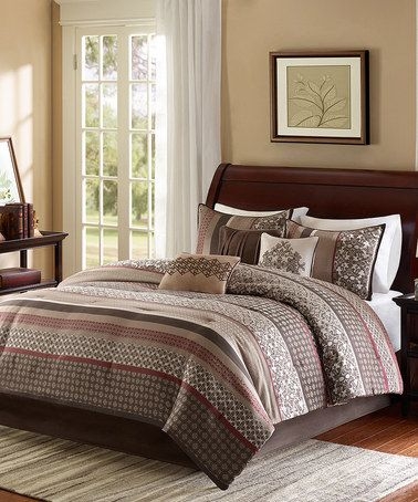 Take a look at this Red & Brown Quilted Coverlet Set on zulily today!