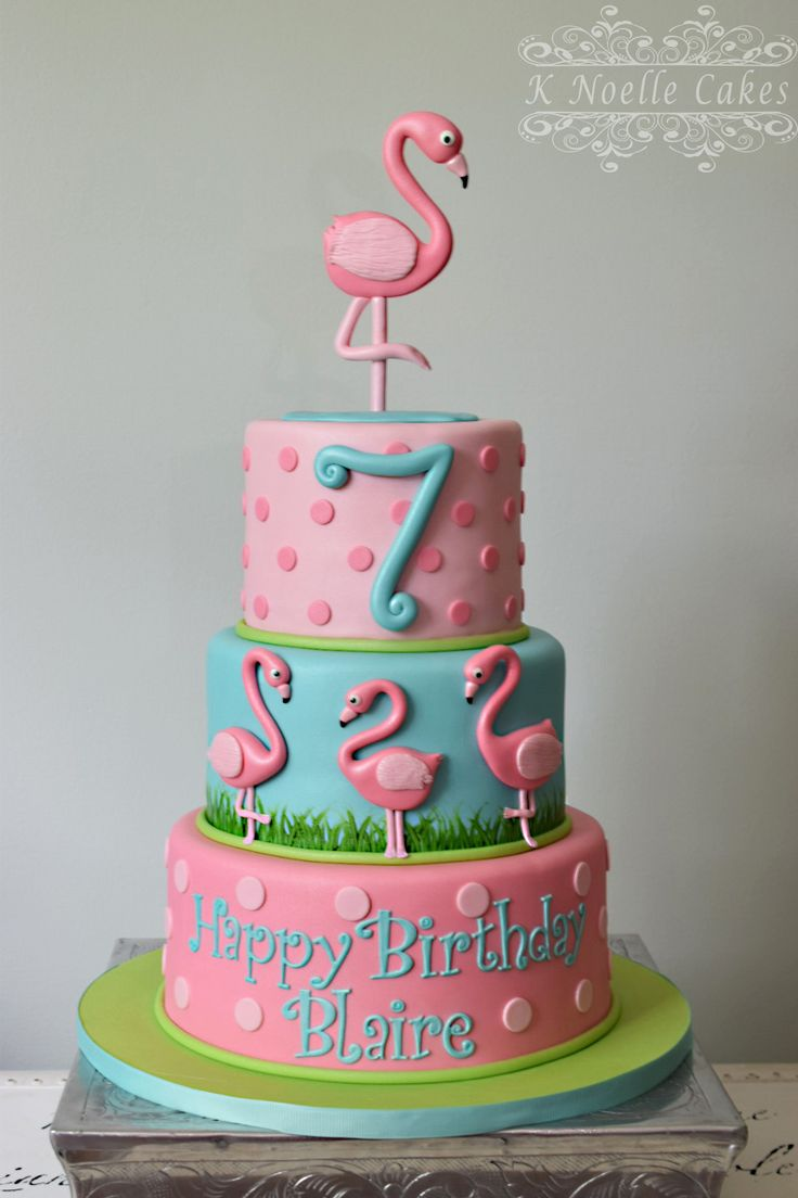 Flamingo theme cake by K Noelle Cakes                              …