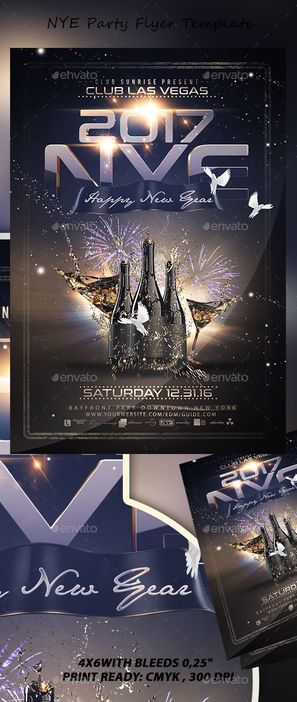 NYE Party Flyer Template PSD. Download here: https://graphicriver.net/item/nye-party-flyer/17415049?ref=ksioks