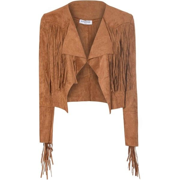 Tan Suedette Cropped Fringed Jacket ($69) ❤ liked on Polyvore featuring outerwear, jackets, tan, fringe jacket, long sleeve crop jacket, leather jacket, tan jacket en cropped jacket