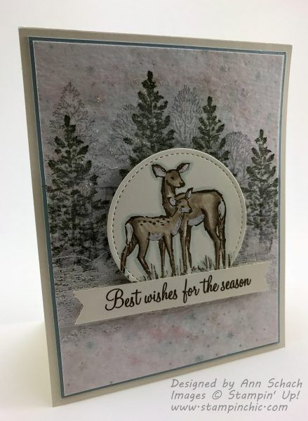 "Beast Wishes for the Season card using the ""In the Meadow, Lovely As a Tree &  Christmas Pines"" Stampin' Up! sets"