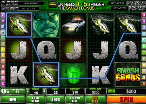 Playtech software manufacturer has released one more game based on Marvel comics and movie-trilogy - The Incredible Hulk slot machine. It is 5-reel and 25-paylines online game with unique Smash and Rage features along with special symbols, which make the game worthy to try. Every player may test it for fun at GetFreeSlots portal.