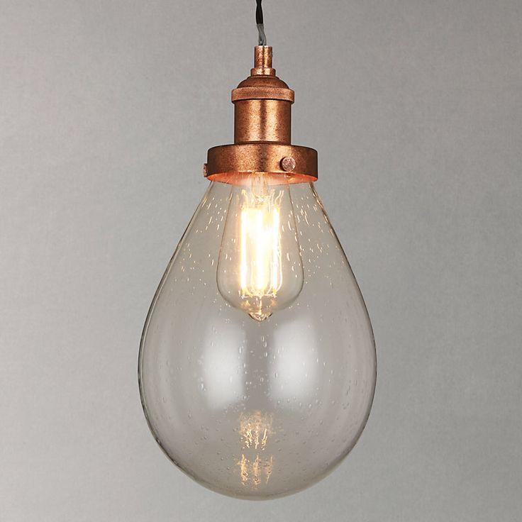 John Lewis Radley Glass Bistro Pendant Ceiling Light, Clear/Copper