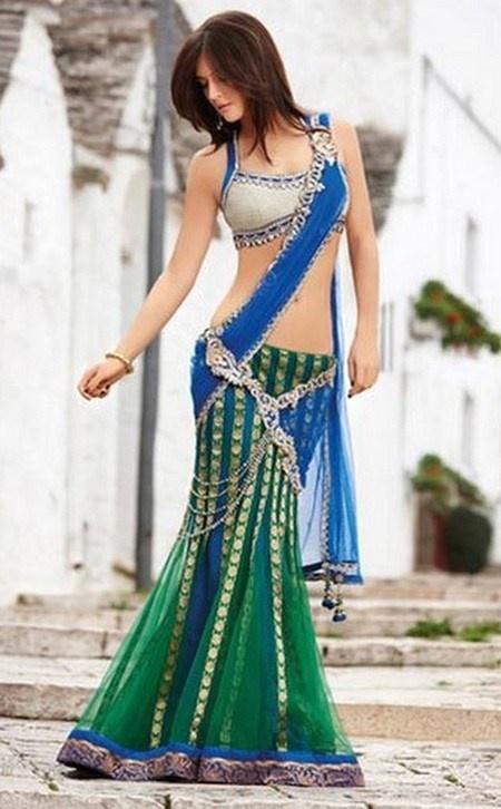 Green and Blue saree lengha