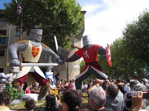 Carnaval time at the Cassoulet celebrations in August.