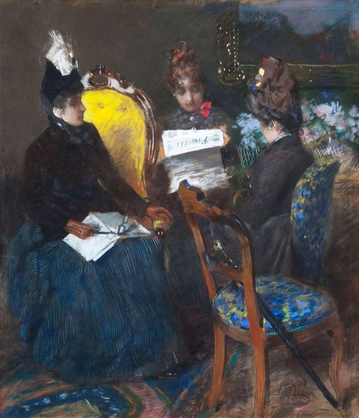 """Vittorio Corcos, Leggendo il """"Fanfulla"""", 1887, Bologna, collezione privata - courtesy Alberto Giordani"""
