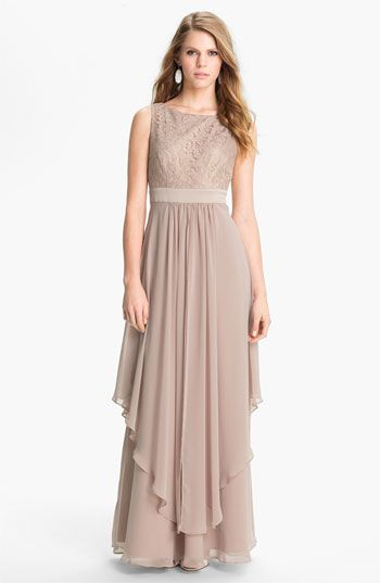 Eliza J Sleeveless Lace  Chiffon Gown available at #Nordstrom