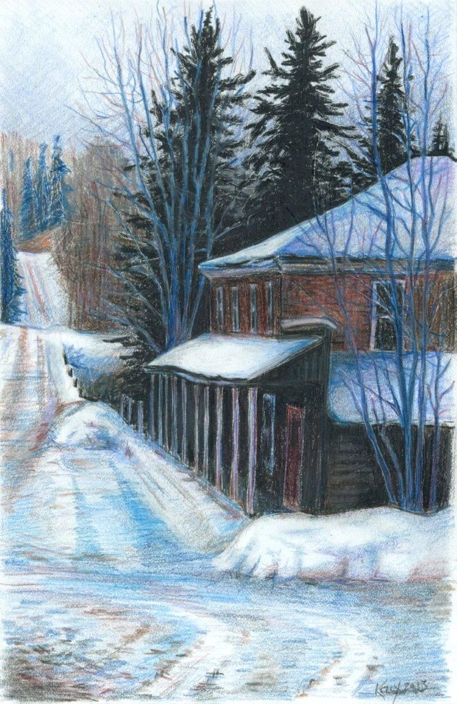 Frosty February Morning, Quadeville. 6x8 pencil drawing. Prints available.