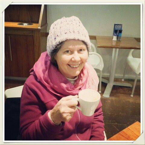 Another happy warm beanie recipient.  So thrilled my Mum loves her soft purple beanie.  Perfect accessory for an icy Joburg visit