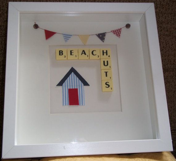 Beach Huts Scrabble Art Picture Frame by MissyWomanCreations, £20.00