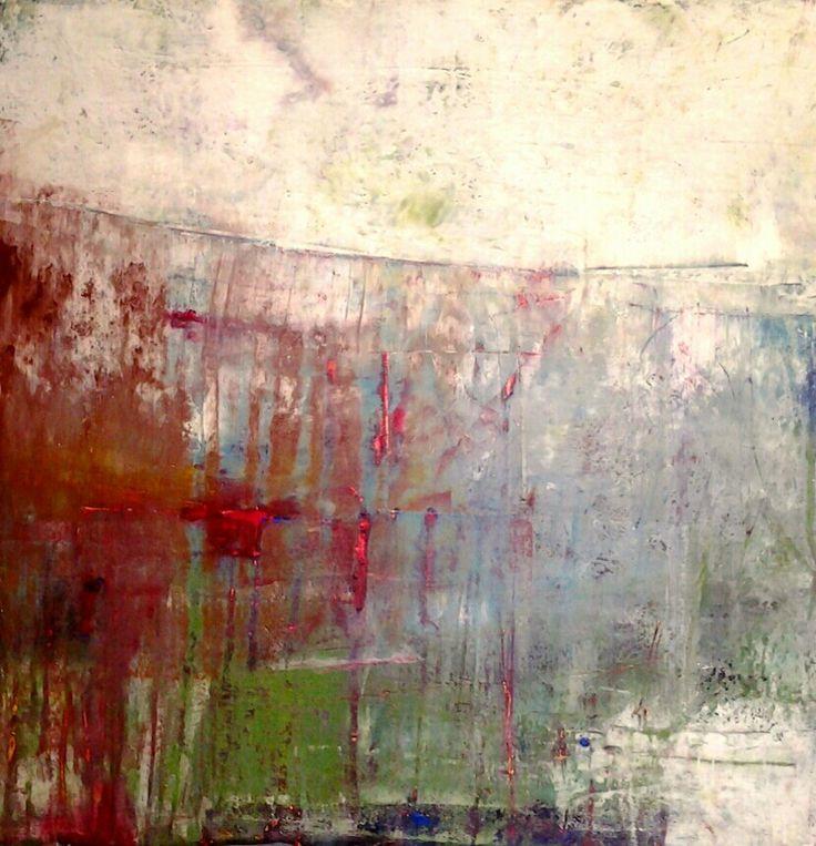 liz doyle 'refrain' oil and wax on canvas 80cm sq