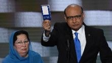 Khizr Khan holds his personal copy of the US Constitution while addressing delegates on the fourth and final day of the Democratic National Convention at Wells Fargo Center on July 28, 2016 in Philadelphia, Pennsylvania.   Khizr Khans son, Humayun S. M. Khan was a University of Virginia graduate and enlisted in the US Army. Khan was one of 14 American Muslims who died serving the United States in the ten years after the September 11, 2001 terrorist attacks. / AFP / SAUL LOEB        (Photo…