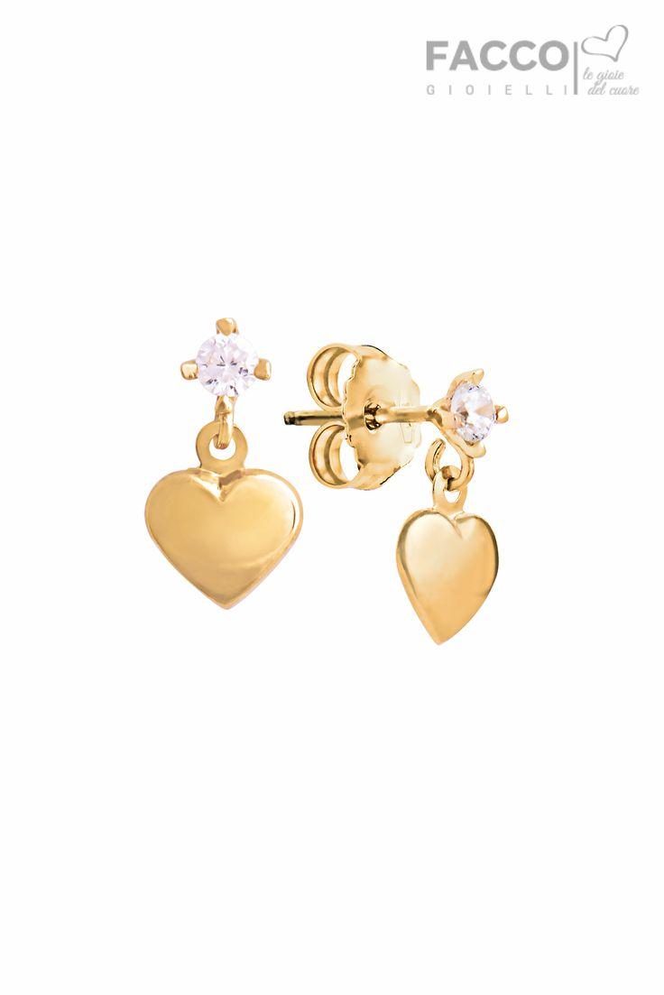 Orecchini pendenti bambina, Facco Gioielli, in oro giallo 750‰, cuore con zircone.