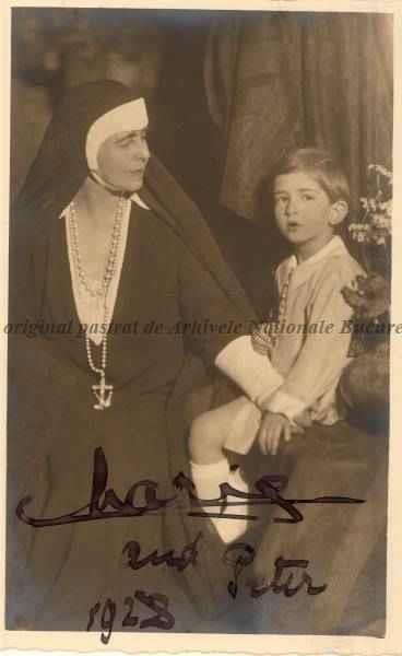 BU-F-01073-1-00189 Regina Maria şi nepotul său Peter, fiul lui Alexandru al Iugoslaviei, 1928 (niv.Document)