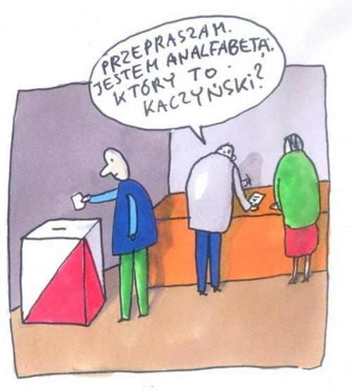 """""""Discule, soy analfabeto: ¿cuál es la de Kaczynski?"""" M. Raczkowski"""