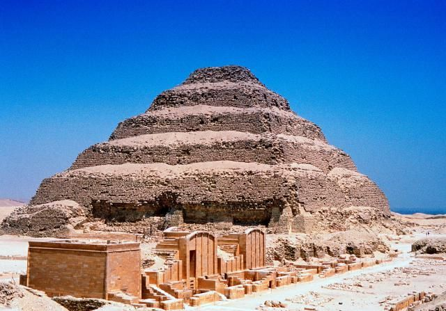 The Step Pyramid of Djoser (also spelled Zoser) is the earliest monumental pyramid in Egypt, built at Saqqara about 2650 BC for the 3rd Dynasty Old Kingdom pharaoh Djoser, who ruled about 2691-2625  BC (or perhaps 2630-2611 BC). The pyramid is part of a complex of buildings, said to have been planned and executed by that most famous architect of the anc…