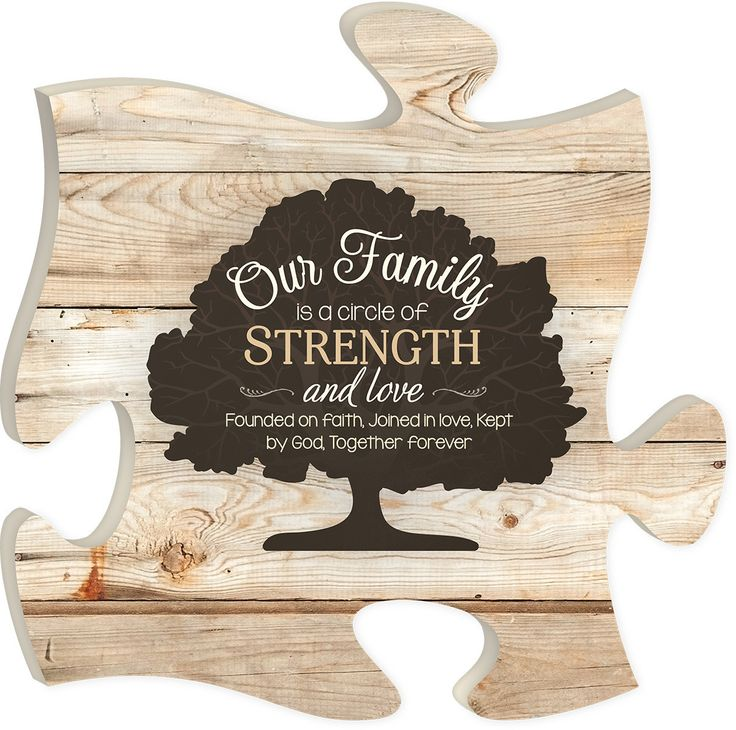 "Our family is a circle of strength and love founded on faith, joined in love, kept by God. Together forever. - Measures 12"" x 12"" square - all puzzle frames easily link together for a unique presentat"