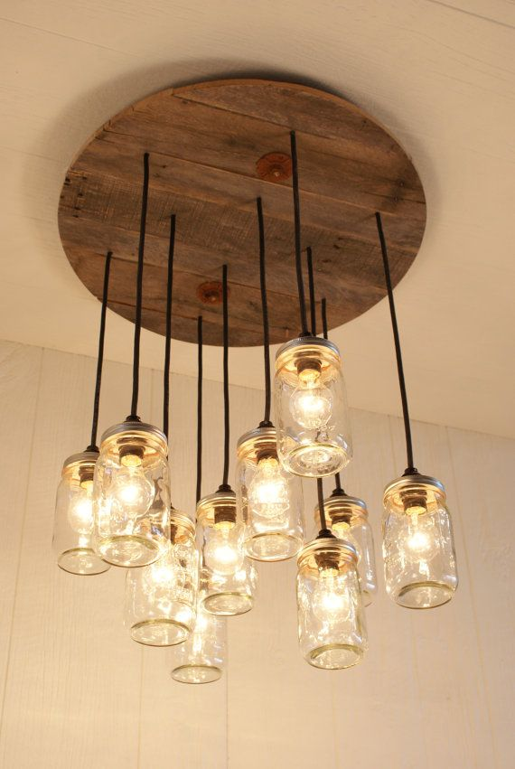 "Cool Idea for a porch"" Mason Jar Chandelier Mason Jar lighting by Bornagainwoodworks"