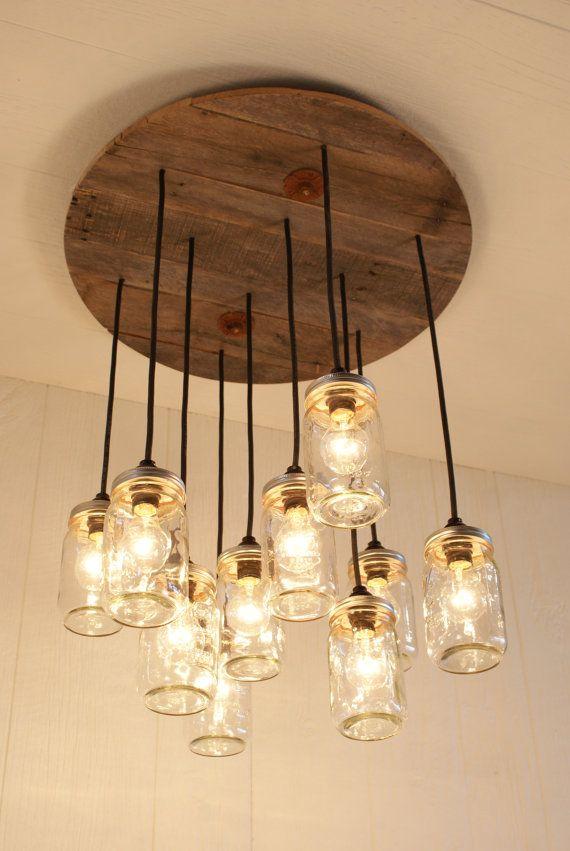 Mason Jar Chandelier - Mason Jar lighting - Upcycled Wood I bet I could make this