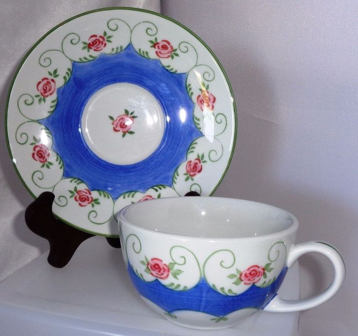 CUP&SAUCER set: Andrea by SADEK, white, blue w flowers Tea Collection, Thailand