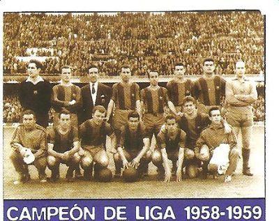 Ramallets, Gràcia (?), Helenio Herrera (entrenador), Rodri, Vergés, Segarra, Gensana, Llorens (?), Tejada, Kubala, Eulogio Martínez, Suárez i Czibor