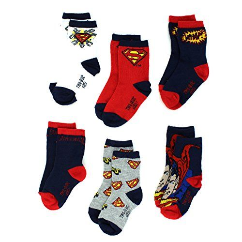 DC Comics Superman Logo Toddler 6 Pack Crew Socks. Great for a Valentine's Day gift or an Easter basket stuffer! www.YankeeToyBox.com #yankeetoybox #dccomics #superman