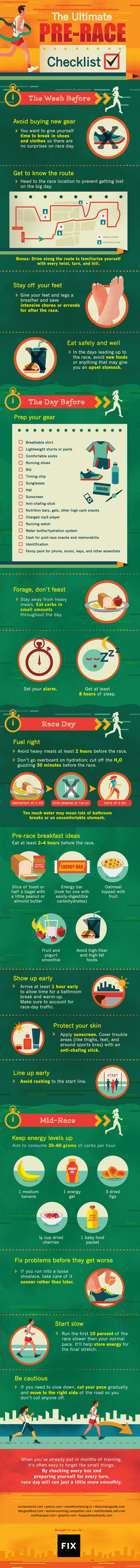 Don't let months of training go to waste. Follow our pre-race running checklist to make sure you're fully prepared in the week, days, and moments before your big race begins. #running http://www.fix.com/blog/ultimate-pre-race-running-checklist/