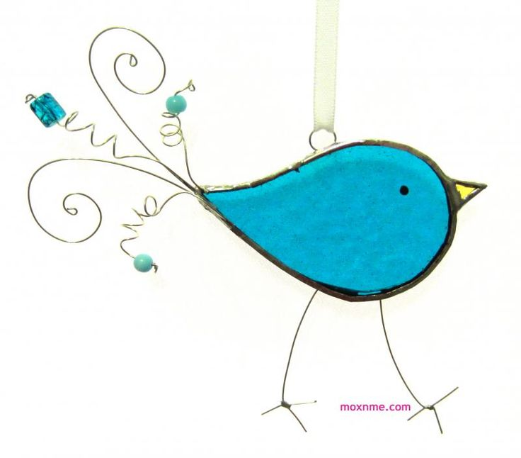Stained glass blue bird