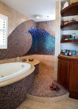 Wave Mosaic Tile Design Ideas, Pictures, Remodel and Decor