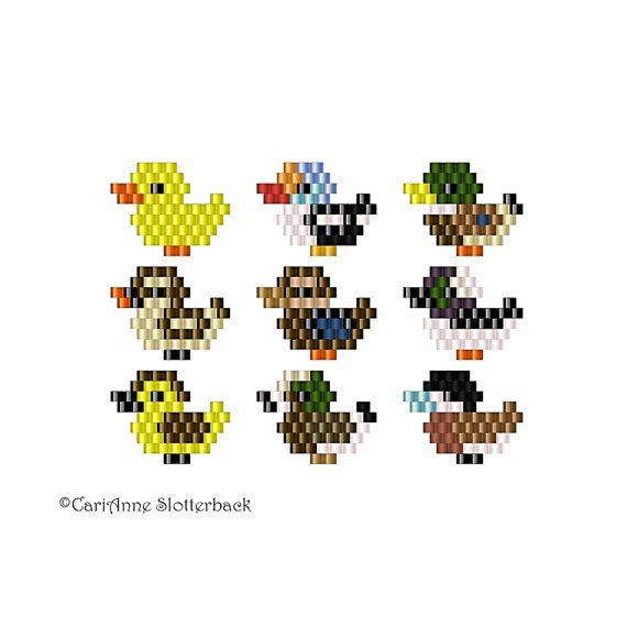 Mini Ducks 1-9 brick stitch pattern pack for charms, earrings, pendants, pins