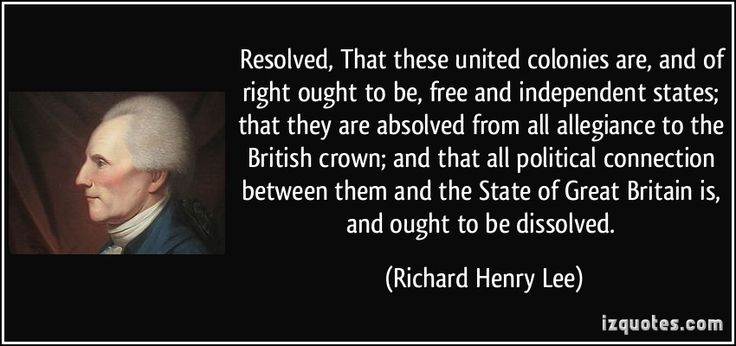 Richard Henry Lee: He Was For Independence, Natural-Lee!   The Quark In The Road
