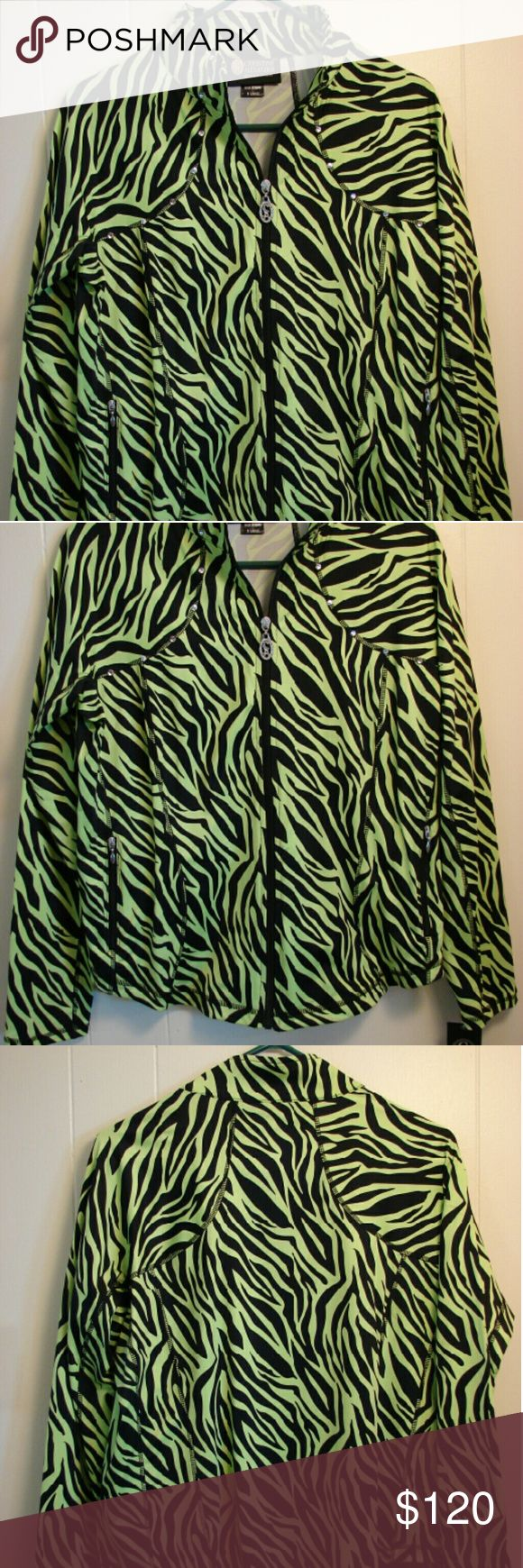 Christine Alexandra jacket Lime green and black zebra print. Stretchy fabric. Zip front with swarovski crystal details. 90% nylon, 10% spandex. Side zip pockets. See matching tank top in separate listing. Christine Alexander Jackets & Coats