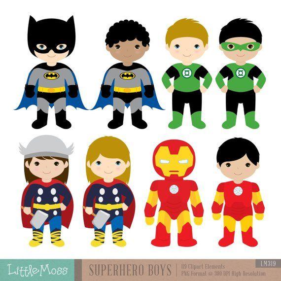 18 Boys Superhero Costumes Clipart Superheroes Clipart Etsy Superhero Costumes For Boys Super Hero Costumes Superman Clipart