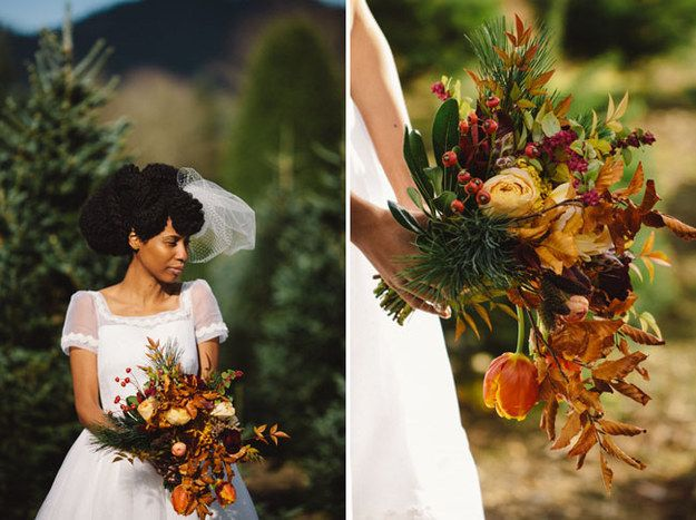 Add fall leaves to your bouquet. | 31 Fall Wedding Ideas You'll Want To Try Immediately