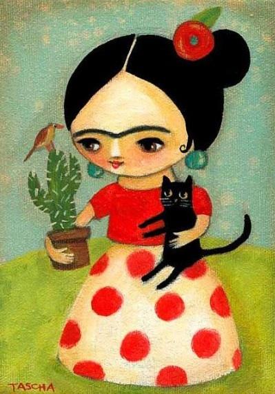 ORIGINAL Frida Kahlo with Black Cat and Cactus acrylic folk art painting on…
