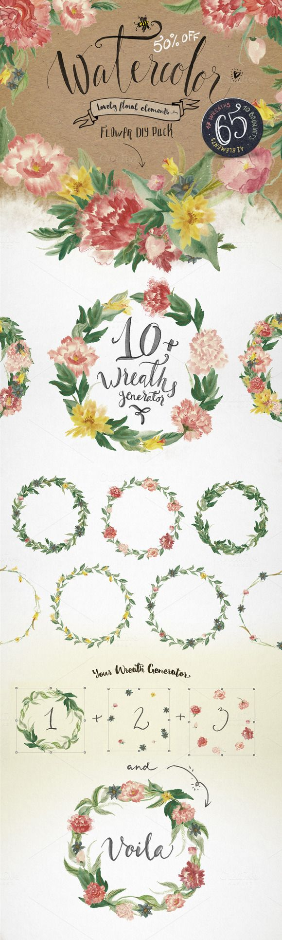 Watercolor flower DIY Pack by BlessedPrint on Creative Market