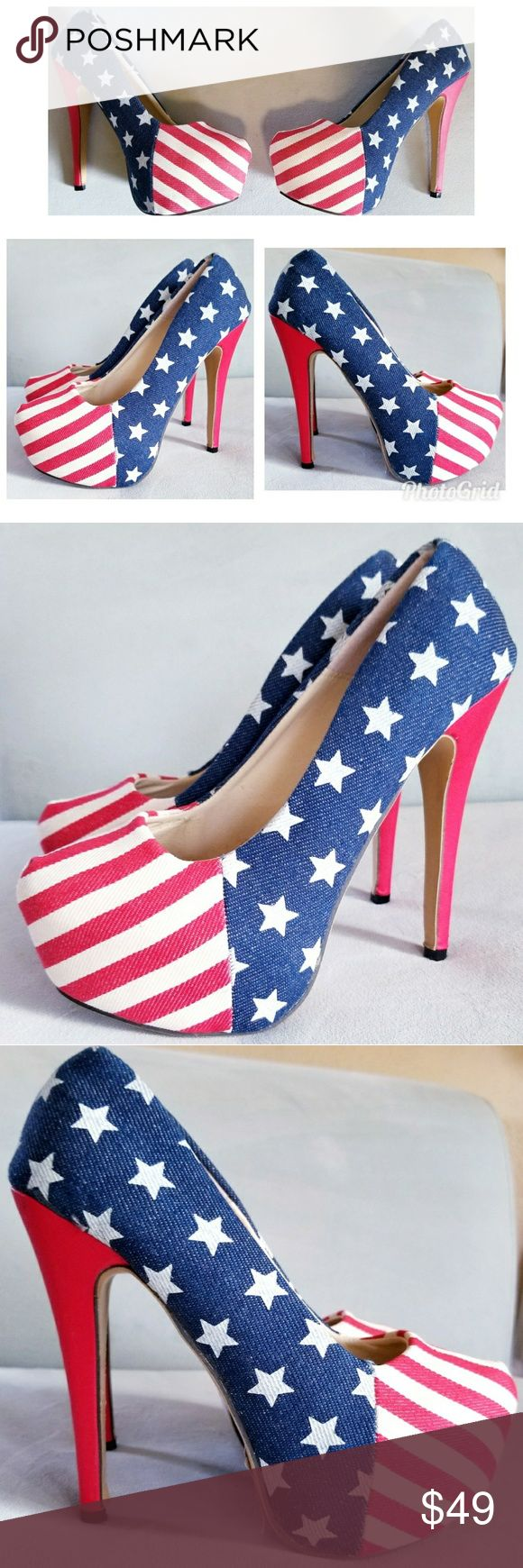 American Flag Platform Heels Sz 8 Stars & Stripes Super cute! Worn once for a couple of hours, see all photos! Red, white & blue, American Flag Heels. There's a glue stain on the interior, see pictures. Canvas/Denim type material. Shoes Platforms