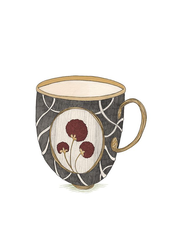Cup #illustration #artist #flower #flowers #black #red #berry #artnouveau #draw #drawing #print #creative #cup #coffee #te