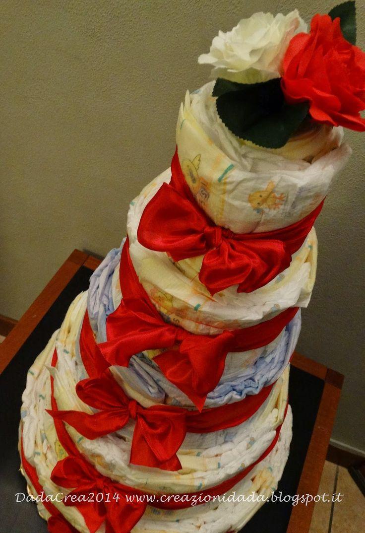 Tranquilli, questa è l'ultima torta commissionatami per la nascita della piccola Noemi. Mamma e papà sono amanti del colore rosso, il col...