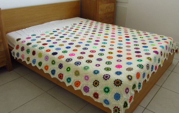 Love all the colours >>Crochet Throw Double Bed Throw King Size Bed by PhoenixSmiles  #crochet  #throw  #handmade