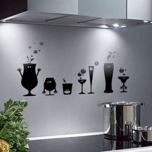 Fun Kitchen Wall Decor Ideas With Unique Wall Stickers Wall Decor For  Bright Kitchen Design Idea