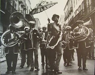 Second Line Parade c.1978 (I've written a novel that features a second line during the Louis Armstrong Fest.)