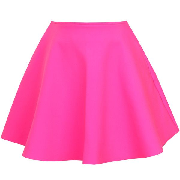 UNIF - Neon Pink Scuba Skater Skirt ($63) ❤ liked on Polyvore featuring skirts, bottoms, saia, yellow, skater skirt, circle skirt, pink skirt, pink high waisted skirt and reversible skirt