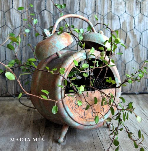 Fabulous painted NEW alarm clock planter - Magia Mia