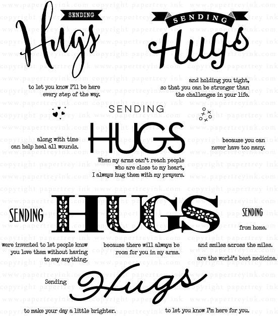 Big Hugs Stamp Set: Papertrey Ink Clear Stamps Dies Paper Ink Kits Ribbon