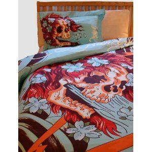 36 best our bedroom images on pinterest skulls bedrooms for Tattoo bedding queen