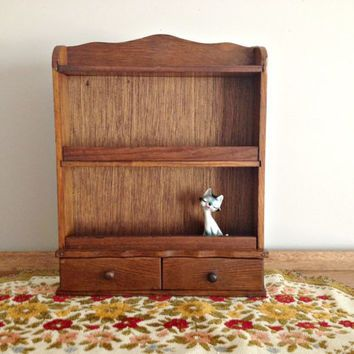 Vintage Wooden Spice Rack Drawers Wall Hanging $40