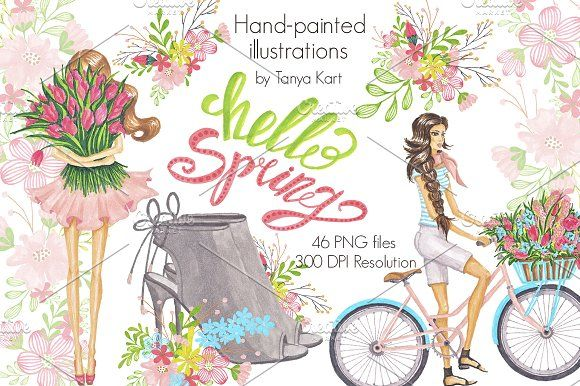 Hello Spring Hand-painted Collection by Tanya Kart on @creativemarket