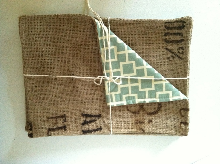 Farmhouse Placemats Recycled Burlap Coffee Bag (set of 4) - Black Print and Geometric Cream and Sea Foam Blue